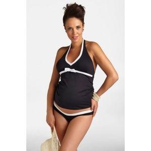NWT Pez D'Or Maternity Tankini Swimsuit BLACK #177